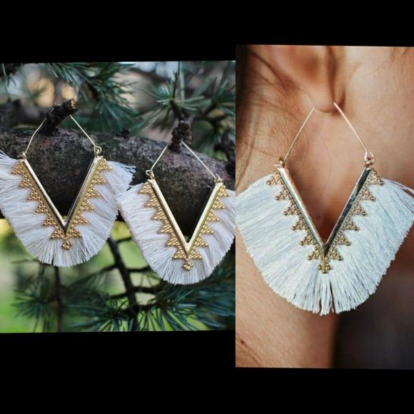 Anthropologie Fringe Tassels Hoop Earrings